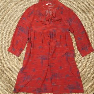 LUX 100% silk red tunic dress